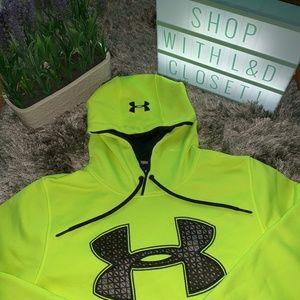 men's Underarmour neon yellow hoodie